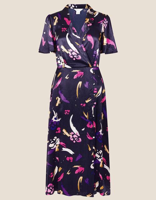Sapphire Printed Satin Tea Dress, Blue (NAVY), large