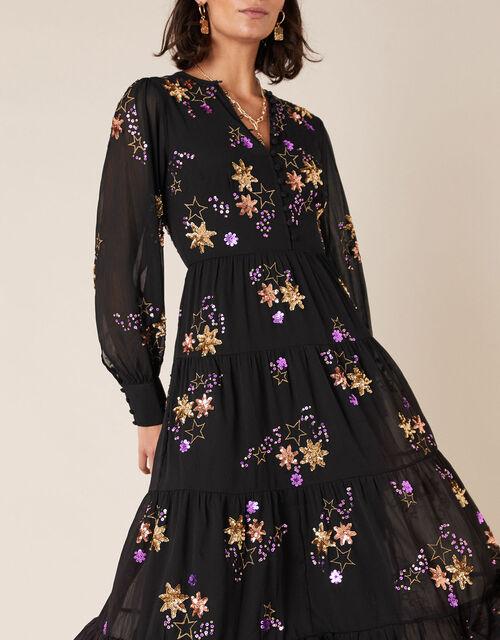 Seraphina Sequin Star Tiered Midi Dress, Black (BLACK), large