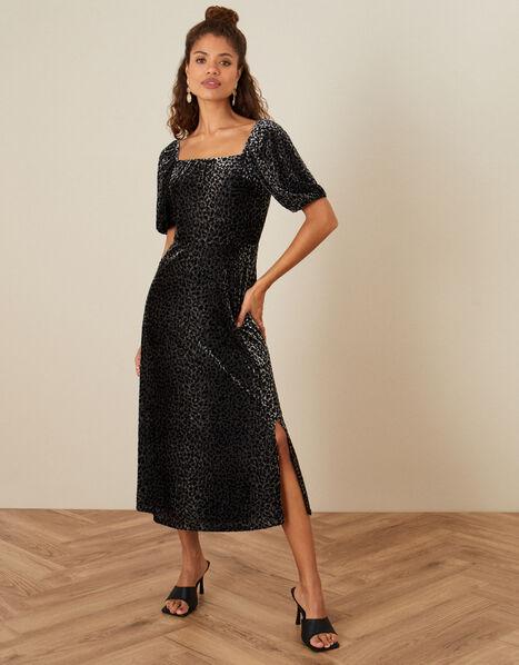 Annie Animal Devore Dress Black, Black (BLACK), large