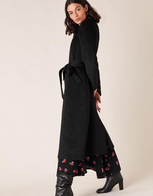 Maxine Long Belted Wrap Coat, Black (BLACK), large