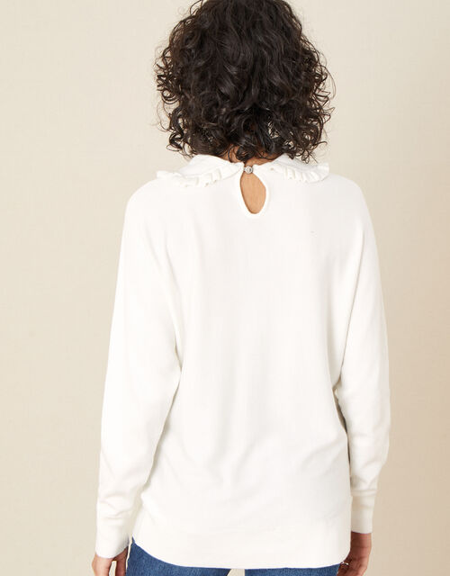 Ruffle Collar Jumper, Ivory (IVORY), large