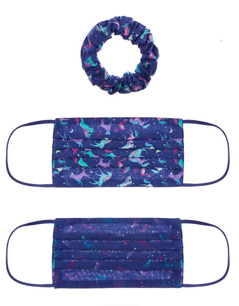 Unicorn Face Covering Set with Matching Scrunchie, , large