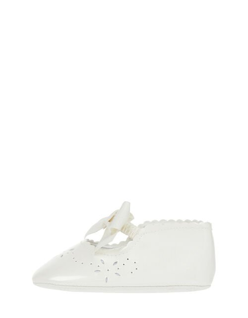 Baby Floral Patent Booties, Ivory (IVORY), large