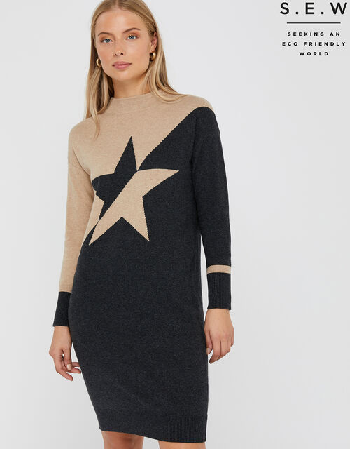 Bia Star Knit Dress with Organic Cotton, Camel, large