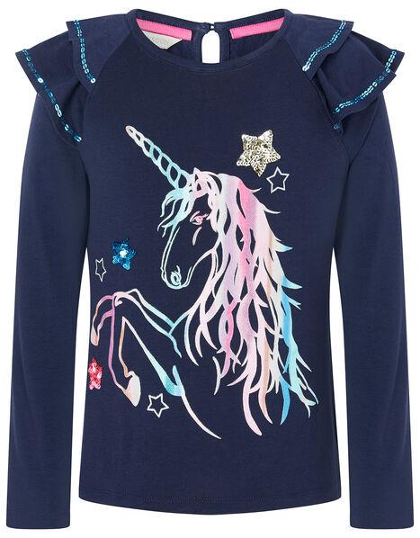 Rainbow Unicorn Long Sleeve Top Blue, Blue (NAVY), large