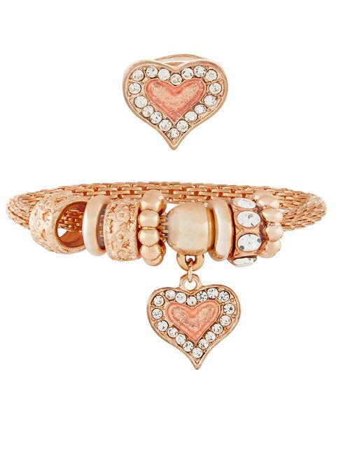 Diamante Heart Bracelet and Ring Set, , large