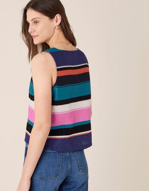 Katia Bold Stripe Top in Pure Linen, Black (BLACK), large