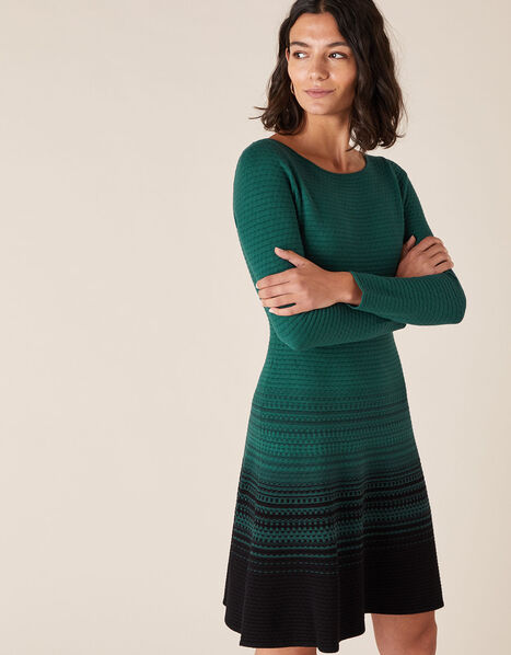 Ombre Knit Dress with Sustainable Viscose Green, Green (DARK GREEN), large