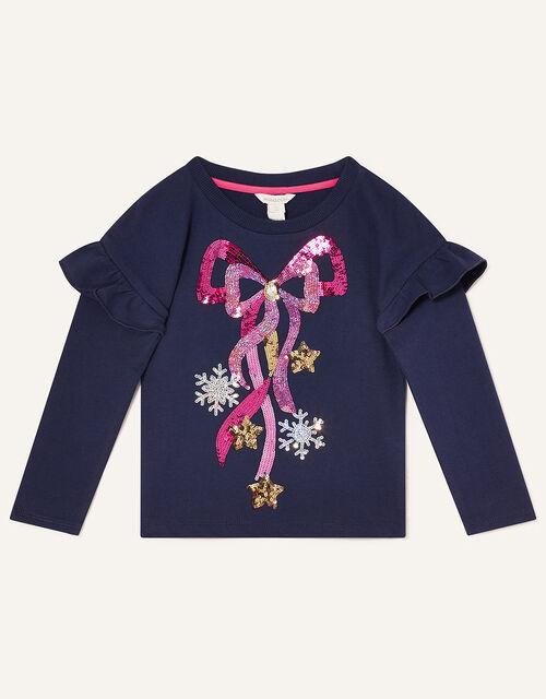 Christmas Bow Sweatshirt, Blue (NAVY), large