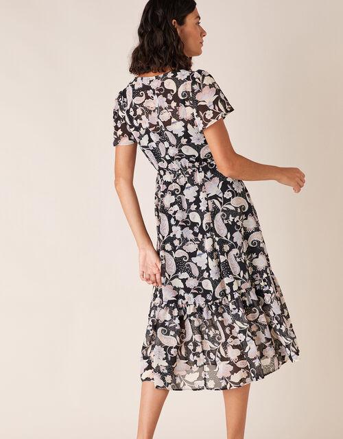 Paisley Print Midi Dress, Black (BLACK), large