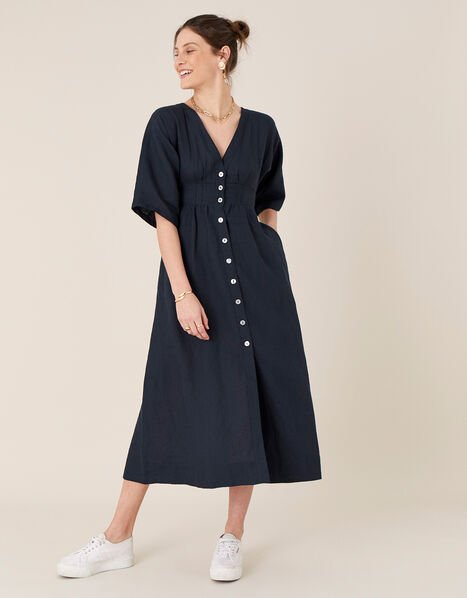 Button-Through Midi Dress in Pure Linen Blue, Blue (NAVY), large