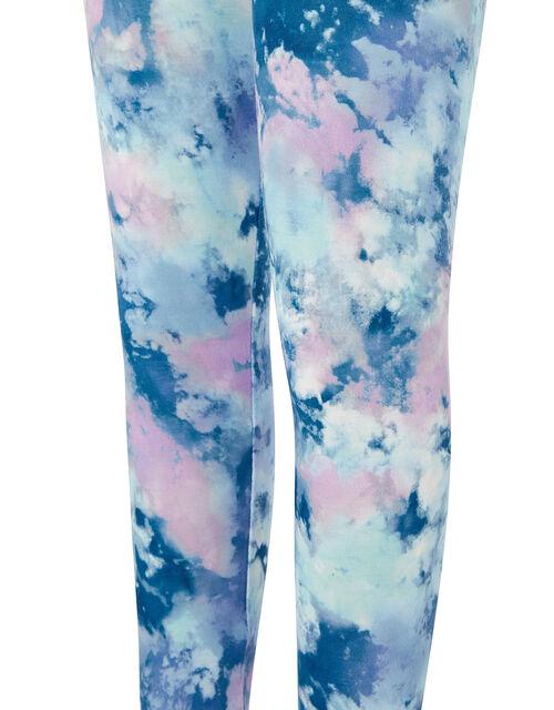 Tie Dye Print Leggings, Blue (BLUE), large