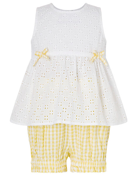 Baby Broderie Top and Gingham Shorts Set Yellow, Yellow (YELLOW), large