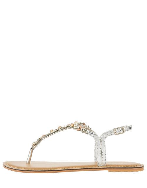 Farren Flower Embellished Sandals, Silver (SILVER), large