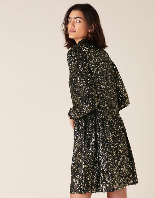 Charlotte Sequin Stretch Tunic Dress, Black (BLACK), large