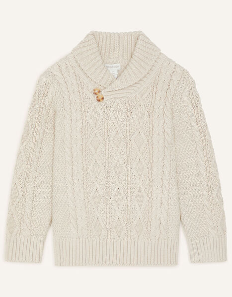 Shawl Collar Cable Knit Jumper Camel, Camel (OATMEAL), large