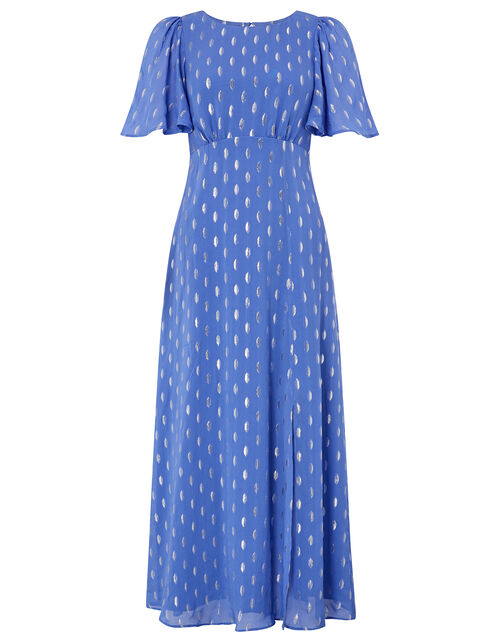 Ann Metallic Spot Maxi Dress, Blue (BLUE), large