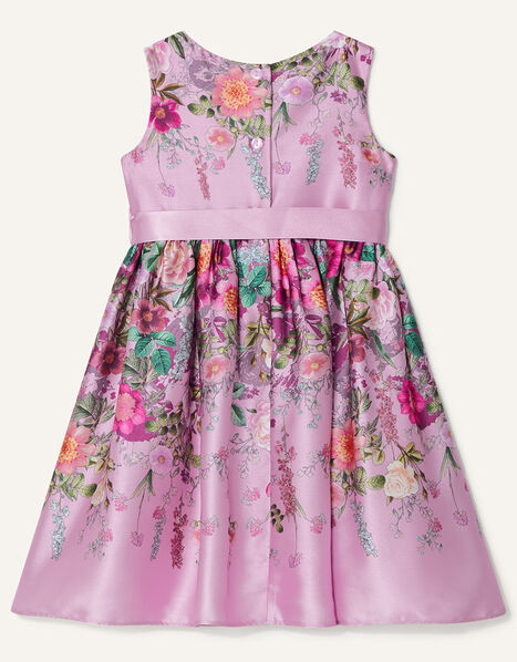 Baby Floral Print Satin Dress Pink, Pink (PINK), large