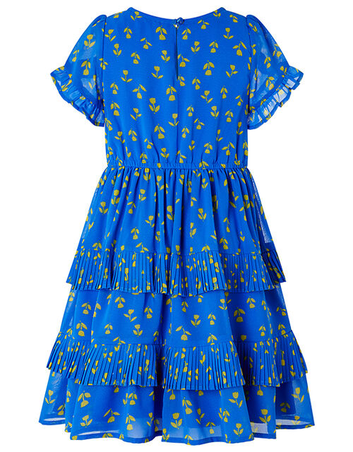 Aria Tulip Print Tiered Dress in Recycled Polyester, Blue (BLUE), large