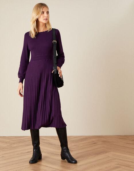 Slash Neck Scallop Dress  Purple, Purple (PURPLE), large