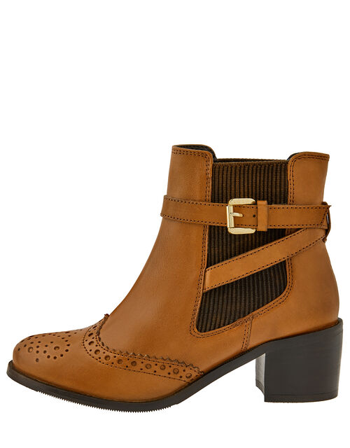 Beryl Brogue Buckle Leather Boots, Tan, large