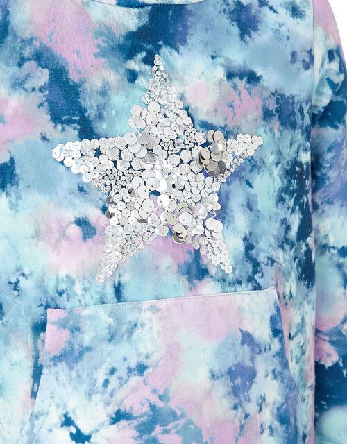Tie Dye Print Sequin Star Hoodie, Blue (BLUE), large
