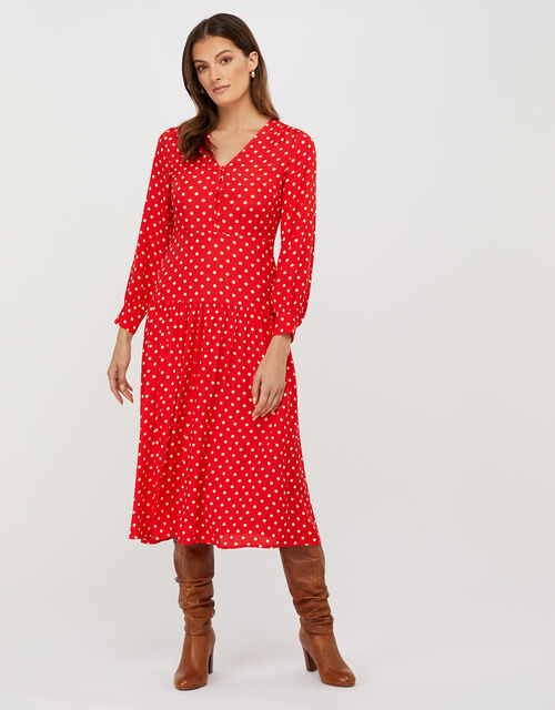 Sandi Polka Dot Long Sleeve Dress, Red, large