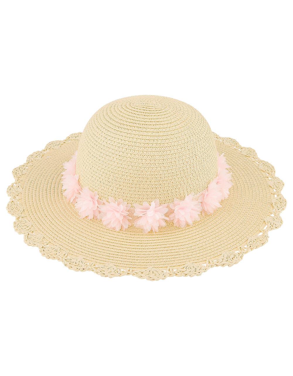 Macaroon Flower Floppy Hat, Natural (NATURAL), large