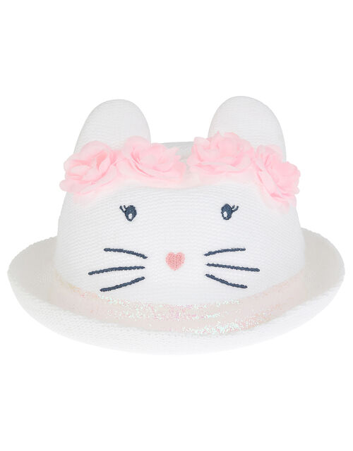 Baby Maggie Bunny Bowler Hat, White (WHITE), large