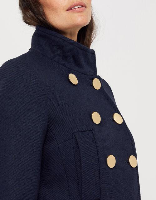 Louis Funnel Neck Coat, Navy, large