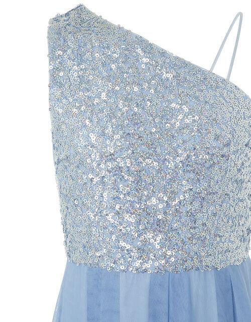 Eilish One-Shoulder Sequin Maxi Dress, Blue (PALE BLUE), large