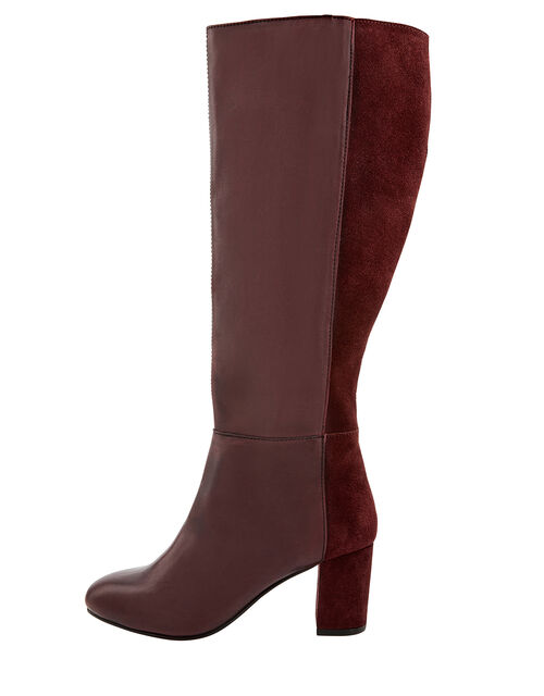 Robyn Long Leather and Suede Boots, Burgundy, large