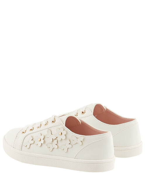 Butterfly Trim Lace-Up Trainers, Ivory (IVORY), large