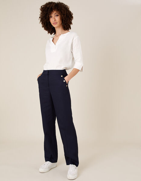 Smart Shorter Length Trousers in Linen Blend Blue, Blue (NAVY), large