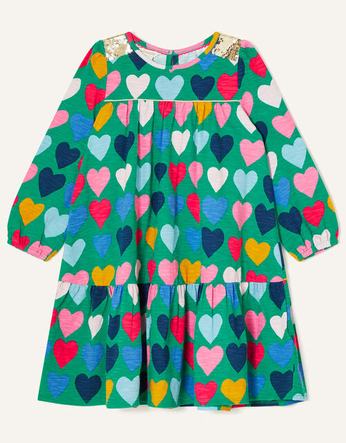 Sequin Shoulder Heart Print Dress, Green (GREEN), large