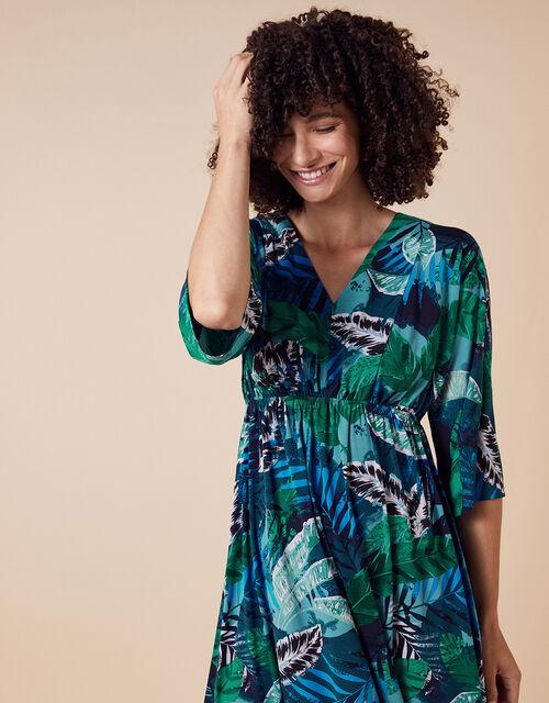 Sandra Palm Print Jersey Midi Dress, Multi (MULTI), large