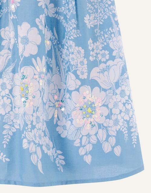 Floral Embellished Swing Dress, Blue (BLUE), large