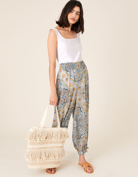 Mariam Printed Balloon Trousers Blue, Blue (BLUE), large