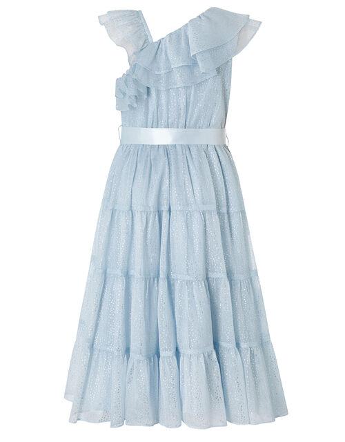 Grace Blue Aysmmetric Tiered Maxi Dress, Blue (BLUE), large