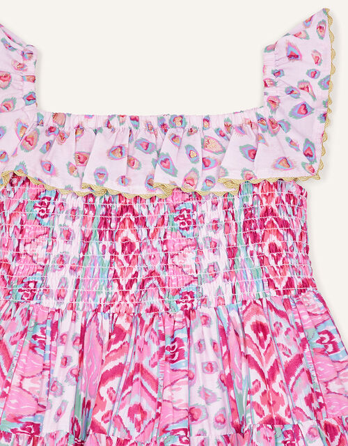 Baby Aztec Shirred Frill Dress , Pink (PINK), large