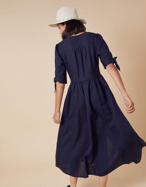 Puff Sleeve Midi Dress in Linen Blend, Blue (NAVY), large