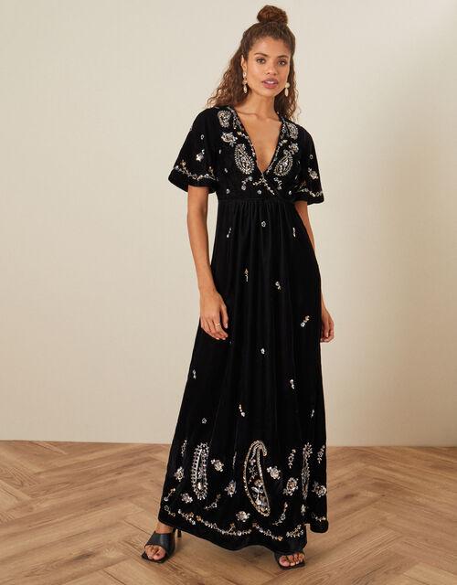 Jacqueline Velvet Embellished Maxi Dress, Black (BLACK), large
