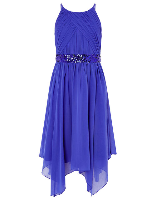 Pleated Chiffon Hanky Hem Dress, Blue (BLUE), large