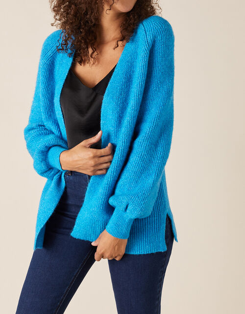 Cosy Knit Cardigan in Wool Blend, Blue (BLUE), large
