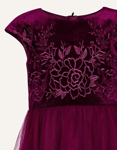 Floral Embroidered Velvet Dress, Red (BURGUNDY), large
