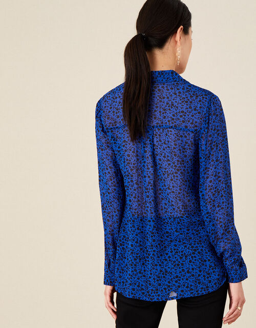 Ditsy Floral Longline Blouse, Blue (COBALT), large