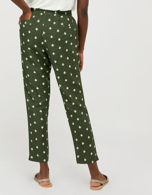 Francine Floral Joggers in Pure Linen, Green (KHAKI), large