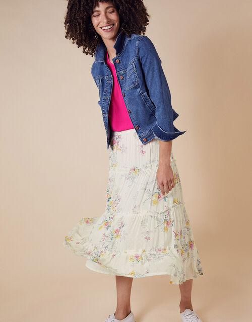 Blossom Print Tiered Midi Skirt, Ivory (IVORY), large