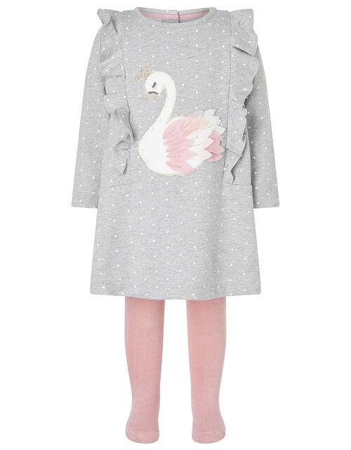 Baby Swan Sweat Dress and Tights Set, Grey (GREY), large