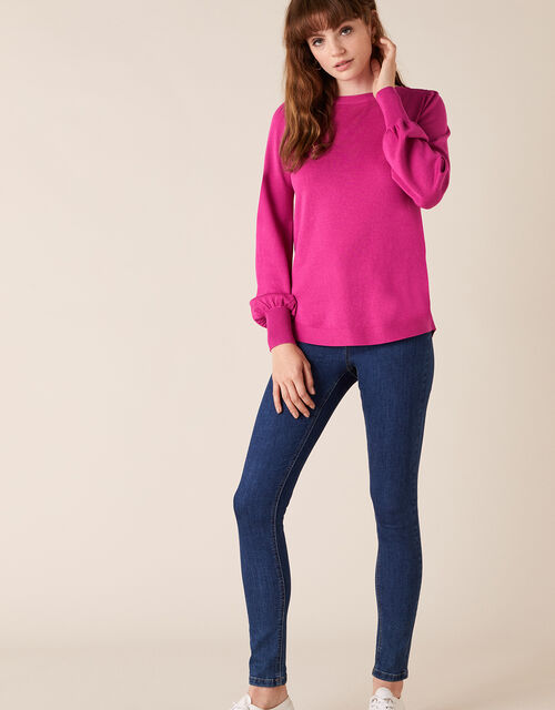 Button Back Knit Jumper with LENZING™ ECOVERO™, Pink (PINK), large